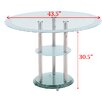 Modern Line Furniture Round Tempered Glass Dining Table