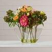 August Grove Nola Peony Arrangement with Glass Vase Silk Flower