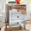 House of Hampton Mirrored 3 Drawer Side Table