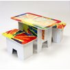 FunDeco Rainbow Kids 3 Piece Craft Table Set