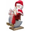 Pinnacle Peak Trading Co Steinbach Signed Rocking Horse Santa with Bag German Wooden Christmas Nutcracker