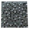 "Abolos 0.63"" x 0.63"" Glass and Quartz Mosaic Tile in Navy Blue"