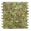 """Abolos LEED Amber 0.63"""" x 1.25"""" Glass Mosaic Tile in Olive"""