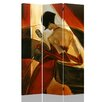 "Roundhill Furniture 71"" x 53"" Double Sided Canvas Painting 3 Panel Room Divider"
