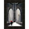 Midwest Art and Frame Brooklyn Bridge Meets Red by Michael Cahill Framed Photographic Print