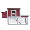 Pawhut Farmhouse Chicken Coop with Run Area and Nesting Box