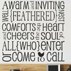 Design With Vinyl A Warm and Inviting Well Feathered Nest Comforts the Heart and Cheers Wall Decal
