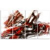 Design Art Burnt Sports Car 4 Piece Graphic Art on Gallery Wrapped Canvas Set in Red