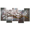 Design Art Brown Blossoming Beauty 5 Piece Painting Print on Wrapped Canvas Set