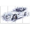 Design Art White Convertible Car 4 Piece Graphic Art on Wrapped Canvas Set
