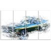 Design Art Blue and Green Muscle Car 4 Piece Graphic Art on Wrapped Canvas Set