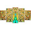 Design Art Flashy Feathers 5 Piece Graphic Art on Wrapped Canvas Set
