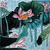 Continental Art Center Aspen Lotus in Blue Tile Wall Decor