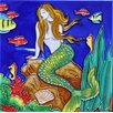 Continental Art Center Green Tail Mermaid Tile Wall Decor