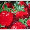 Continental Art Center Strawberry Close Up Tile Wall Decor