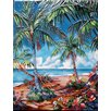 Continental Art Center Palm with a Hammock Tile Wall Decor