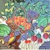 Continental Art Center Fruit Basket and Wineglass Tile Wall Decor