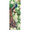 Continental Art Center Vertical Peacock Tile Wall Decor