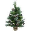 Darice 2' Green Pine Artificial Christmas Tree with Burlap Base and Pine Cones