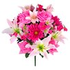 GSC, Inc 18 Stems Artificial Lily, Rose, Gerbera Mixed Bush with Greenery