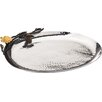 """Classic Touch Tervy Hammered Stainless Steel 9"""" Oval Platter"""