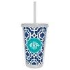 Whitney English Designer Lattice Diamond Monogram Beverage Tumbler