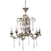 Established 98 Floral 6 Light Crystal Chandelier
