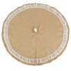 Brite Ideas Living Burlap Round Tree Skirt with Ruffled Lace