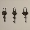 Rosalind Wheeler Historic Antique Key 3 Piece Wall Decor Set