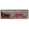Rivers Edge What Happens At The Cabin Tin Sign Wall Décor