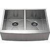 "Alpha International 33"" x 21.62"" Apron Farm 50/50 Double EqualBowl Kitchen Sink"