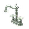 Elements of Design Heritage Double Handle Centerset Bar Faucet with Porcelain Cross Handles