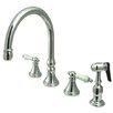 Elements of Design Deck Mount Double Handle Widespread Kitchen Faucet with Porcelain Lever Handle