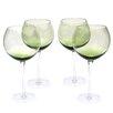 Certified International Glass Stemware Olive Green Red Wine Glasses (Set of 4)