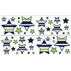 Sweet Jojo Designs Navy Blue and Lime Green Stripe Wall Decal