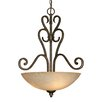 Golden Lighting Heartwood 3 Light Bowl Inverted Pendant