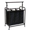 Oceanstar Design 3 Bag Rolling Laundry Sorter with Adjustable Hanging Bar