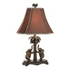 "Dimond Lighting Elephants on Palm Tree Accent 24"" H Table Lamp with Bell Shade"