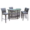 Oakland Living Elite 5 Piece Resin Wicker Bar Set