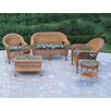 Oakland Living Resin Wicker 5 Piece Seating Group with Cushions