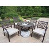 Oakland Living Stone Art 5 Piece Fire Pit Seating Group with Cushions