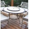 Oakland Living Stone Art Coffee Table with Lazy Susan