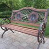 Oakland Living Double Golfer Cast Iron and Wood Park Bench