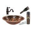 Premier Copper Products Braided Oval Under Counter Sink with Single Handle Faucet and Drain