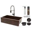 "Premier Copper Products 35"" x 22"" Apron Single Basin Kitchen Sink with Faucet"
