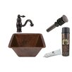 Premier Copper Products Square Sink with Single Handle Faucet and Drain