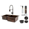 """Premier Copper Products 33"""" x 22"""" Double Basin Kitchen Sink with Faucet"""