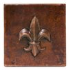 "Premier Copper Products 4"" x 4"" Hammered Copper Fleur De Lis Tile in Oil Rubbed Bronze (Set of 4)"
