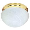 Nuvo Lighting Energy Star Flush Mount with Alabaster Mushroom Glass in Polished Brass