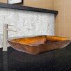 Vigo Rectangular Russet Glass Vessel Bathroom Sink and Shadow Faucet Set